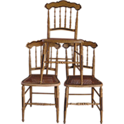 A Set of 3 Victorian Grain-Painted Cottage Chairs C. 1850-1900