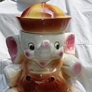 USA American Bisque Elephant Sailor Cookie Biscuit Jar