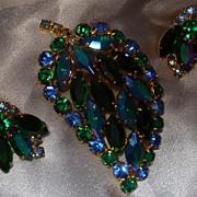 Juliana D&E Brooch Earrings Set Leaf Motif Aurora Borealis