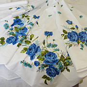 SOLD Vintage 1950's White Cotton Tablecloth with Blue Roses 64 x 52