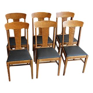 SALE Set of 6 Early 1900's Oak T Back Dining Chairs