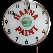 Vintage Hanna Paint Lighted Advertising Clock Telechron
