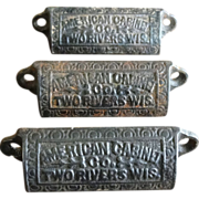 SOLD Vintage American Cabinet Company Wisconsin Cast Iron Bin Pulls Set of 3