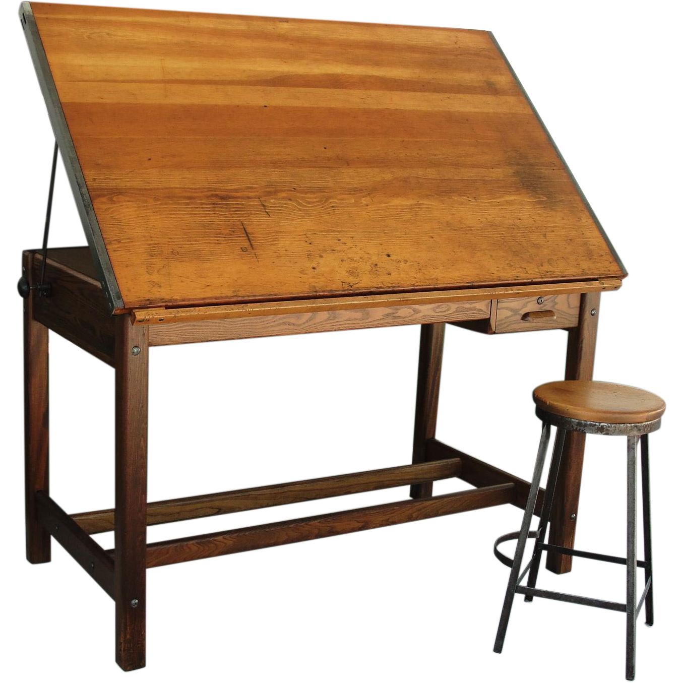 Vintage Industrial Hamilton Drafting Table Kitchen Island