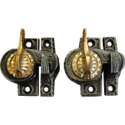 SOLD Antique Iron & Brass Eagle Claw Sash Locks