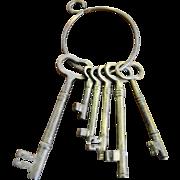Set of Six Heavy Brass Keys on Ring