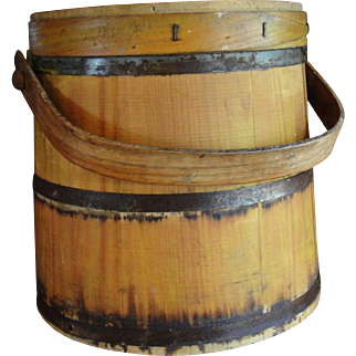 Large Yellow Wooden Firkin Pantry Box Sugar Bucket