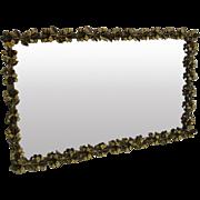 Vintage Gold Metal Mirror Vanity Tray with Hibiscus Flower Border