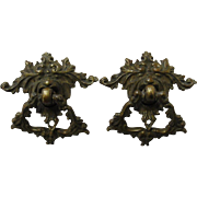 Antique Cast Brass Drawer Pulls Victorian Gothic Gargoyle