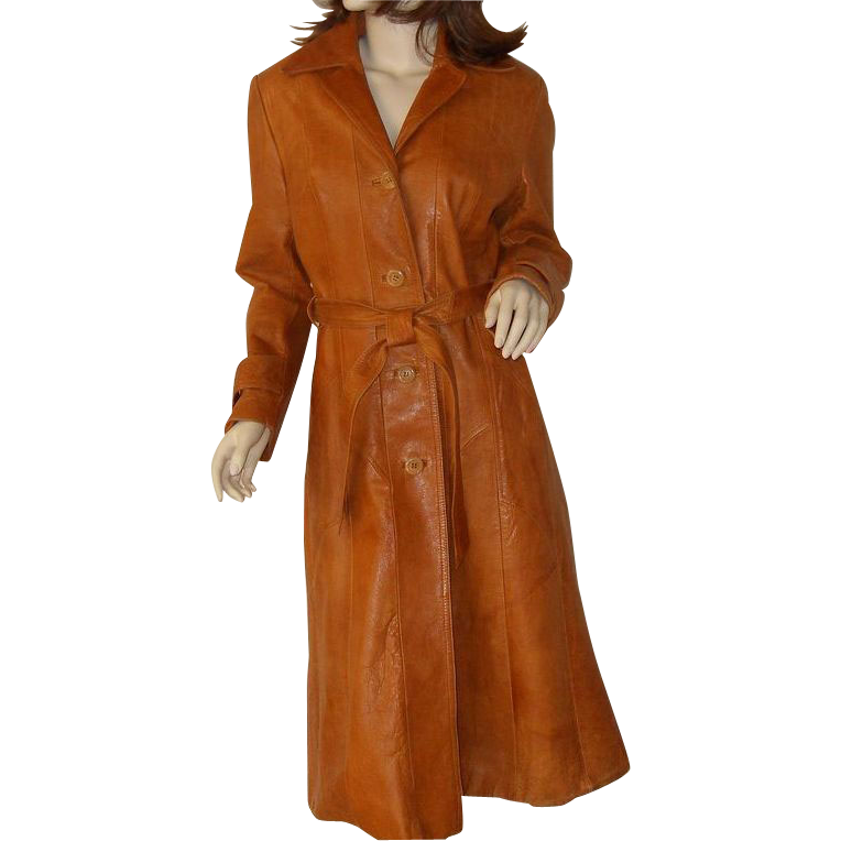 Vintage womens caramel leather trench coat