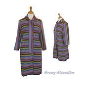 1960's Multi Colored stripe twill mod coat    Mad Men style