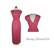 1960's Elegant Pink Chiffon Evening Wiggle Dress