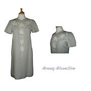 1960's Vintage Pale Gray Appliqued Cut Work Sheath Dress