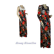 1960's Vintage Navy Floral Maxi Dress with Jacket