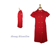 1960's Vintage Double Breasted Red Coat Dress with Naval Brass Buttons
