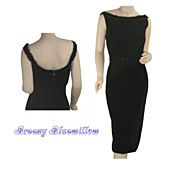 Elegant Vintage Black Velvet Evening Wiggle Dress ~ c.1950