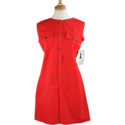 Vintage Mid-Century Red Playsuit Pant Dress ~ NOS