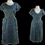 1950's Vintage Fancy Blue Floral Day Dress