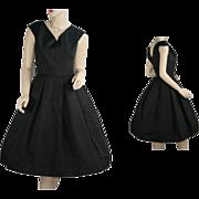 Vintage 1950's Black Moire' Cocktail Evening Dress