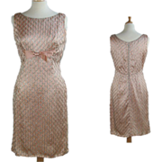 Vintage 1960's Pink and Silver Wiggle Cocktail Evening Dress