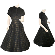 1950's Faille Black and Gold Vintage Swing Dress