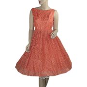Salmon Lace 1950's Prom Dress with Matching Bolero Jacket