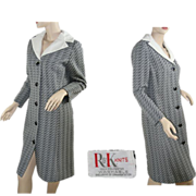 Vintage Mod Double Knit Black & White Day Coat Dress ~ 1960's