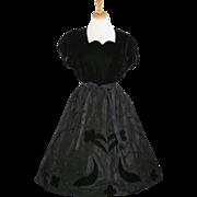 Black Velvet and Taffeta Ribbon Party Dress