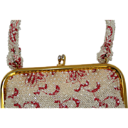 Vintage Clear Beaded Embroidered Red Purse
