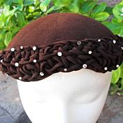 1950's Brown felt ladies rhinestone studded hat toque