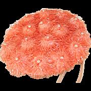 SOLD 1950's Vintage Orange Forward Tilt Straw Hat
