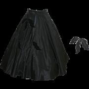 Early 1960's Black Taffeta Christmas Skirt