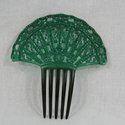 Large Fan Green Celluloid and Rhinestone Hair Comb