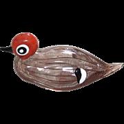 Licio Zanetti Signed Colored Murano Glass Duck
