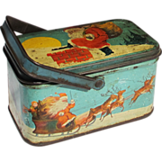 SOLD Vintage 'Twas The Night Before Christmas' Litho Candy Tin Pail w/ Santa