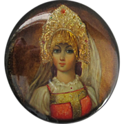 Gorgeous Hand-Painted Russian Lacquer Pin - Signed - Lady
