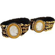 Antique Georgian Pair Bracelets Hardstone Cameos Napoleon Josephine 18k Gold  (#5354)