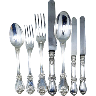 Antique Aucoc Flatware 108 Pc Sterling Silver Knives Forks Spoons Chest (#5869)
