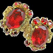 SALE Deep Red Rhinestone CZECH Earrings w/ Gilded Brass Filigree