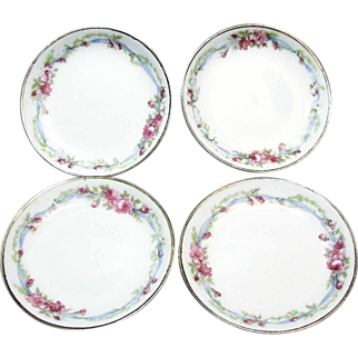 SALE Set of 10 LIMOGES Butter Pats in WEDDING WREATH Pattern French Porcelain c.1900