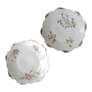 Pair DRESDEN Germany's Embossed Porcelain Plates Gilded Floral circa 1896
