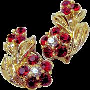 LISNER's Eye-Catching Red Rhinestone Floral Earrings