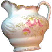 LaBelle's Gilded LEMONADE PITCHER Pink Floral Transferware circa 1900