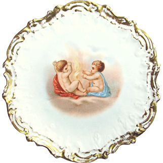 SALE Gilded LIMOGES' CHERUB SCENE Cabinet Plate Coiffe Mold circa 1900