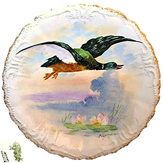 SALE Limoges' Game Bird Plate Hand-painted by Listed Artist René circa 1896