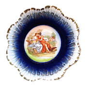 SALE COBALT CHERUB & Hunters Cabinet Plate  Austrian Porcelain circa 1904
