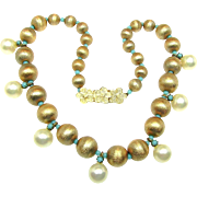 SALE EUGENE's Russian Gilt w/ Faux Pearl Drop Necklace 'n Glass Turquoise Accents c.1950's