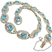 SALE Opulent ART DECO Clear White Rhinestone Link Necklace w/ Rose 'n Aquamarine Accents c ...