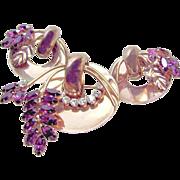 SALE Gold Washed CORO STERLING CRAFT Brooch 'n Earrings w/ Purple Rhinestones c.1942