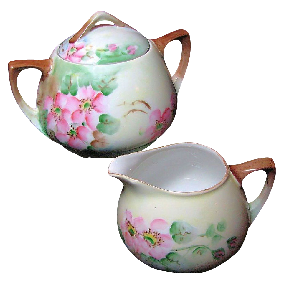 APPLE BLOSSOM Creamer & Sugar Austrian Hand Painted Porcelain circa 1899-1918